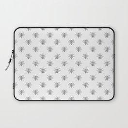 Vintage Honey Bees in Grey on White Laptop Sleeve