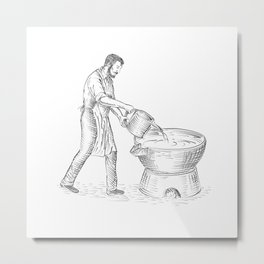 Vintage Candlemaker Foundry Drawing Metal Print