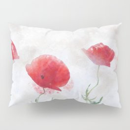Poppy watercolor Pillow Sham