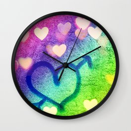 Graffiti Hearts  Wall Clock