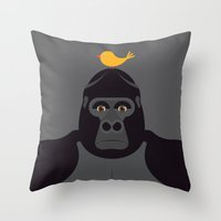 larry Throw Pillows featuring Happy Larry by Mark Walker