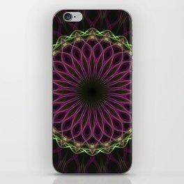Green and purple mandala iPhone Skin