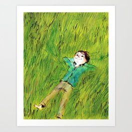 On the grass Art Print