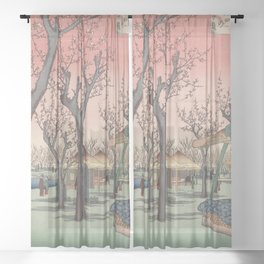 Plum Garden Kamata Ukiyo-e Japanese Art Sheer Curtain