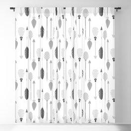 Modern black white bohemian arrows feathers Blackout Curtain