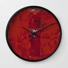 Solomon Abstract Red Modern Art Painting Shawn McNulty Wall Clock