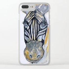 Zebra Woman Clear iPhone Case