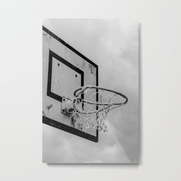 I dunk think so - The Netherlands photo | Basketball basket black and white monochrome dramatic noir photography art print Metal Print