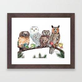 Tea owls , funny owl tea time painting by Holly Simental Framed Art Print