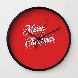 Merry Christmas with Snow Flakes on Red Background Wall Clock