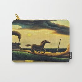 Classical Masterpiece 'The Race' - Horse and Train by Thomas Hart Benton Carry-All Pouch