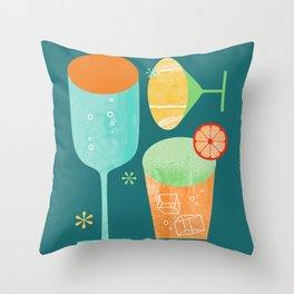 Pour & Drink (Blue) Kitchen or Bar Art Throw Pillow