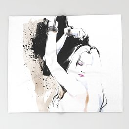 Beauty portrait, Woman slave handcuffs, Nude art, Black and white, Fashion painting Throw Blanket