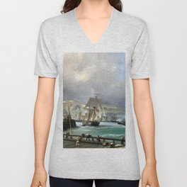 A Breezy Day Off Dover Harbour seascape nautical painting by Julius Hintz Unisex V-Neck