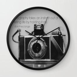 Dorothea Lange Quote Vintage Camera Wall Clock