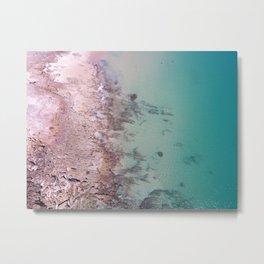 Aerial beach Turquoise pink Ocean coast, zen Aerial Coast Ocean Beach Wall Art Nautical Decor Port Metal Print