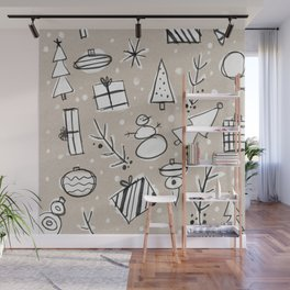 Christmas White and Kraft Sketches Wall Mural