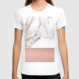Rose gold marble and foil T-shirt