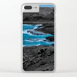 Black & Blue Shoreline Clear iPhone Case
