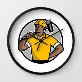 African American Demolition Worker Mascot Wall Clock