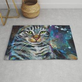 Galactic Cat In Space Painting by Robert Phelps Rug