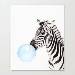 Zebra, Bubble gum, Blue, Animal, Nursery, Minimal, Trendy decor, Interior, Wall art Canvas Print