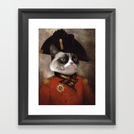 Angry cat. Grumpy General Cat. Framed Art Print