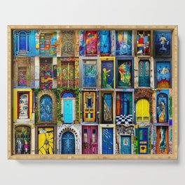 Behind Every Door (Is A Home), Collage Painting of Colorful World Doors by Jeanpaul Ferro Serving Tray