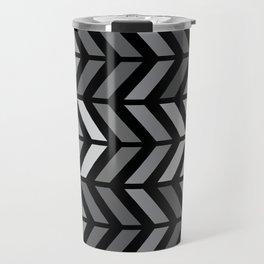 Chevron Black Gray Travel Mug
