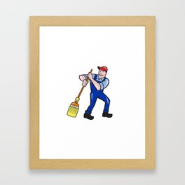 Janitor Cleaner Holding Mop Bucket Cartoon Framed Art Print