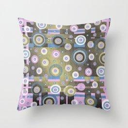 grunge,Gold, Rose, Blue, retro pattern, balls, stripes, shiny Throw Pillow