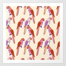 Modern parrots on cream Art Print