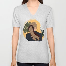 Lady with Hair Tie Unisex V-Neck