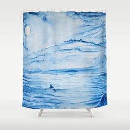 Full moon over shallow water Shower Curtain