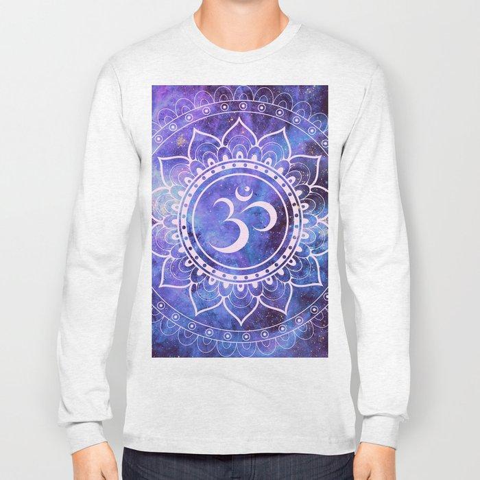 Om Mandala Purple Lavender Blue Galaxy Long Sleeve T-shirt