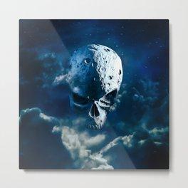 Reaper Moon Rising / 3D render of cratered skull moon in night sky Metal Print