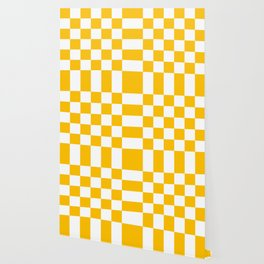 Yellow and White Check Wallpaper