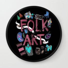 Folk Art with Black background Wall Clock
