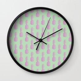 Pineapples - Light Green & Pink #218 Wall Clock