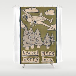 Travel More Worry Less // Airplane Wanderlust Mountains Shower Curtain