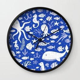 Underwater Sea Life Pattern in Cobalt Wall Clock