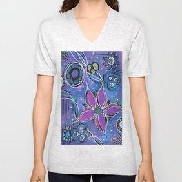 Purple Flowers Background Unisex V-Neck