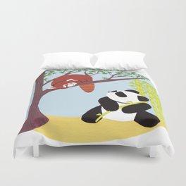 Puzzled Pandas Duvet Cover