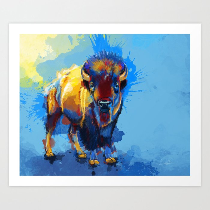 On the Plains - Bison painting Art Print