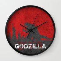 godzilla Wall Clocks featuring Godzilla by WatercolorGirlArt