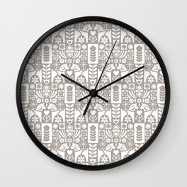 Swedish Folk Art - Warm Gray Wall Clock