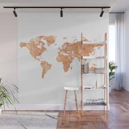 Glistening Chestnut World Map Wall Mural