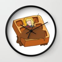 leslie knope Wall Clocks featuring Leslie Knope + Giant Waffle by Faellen