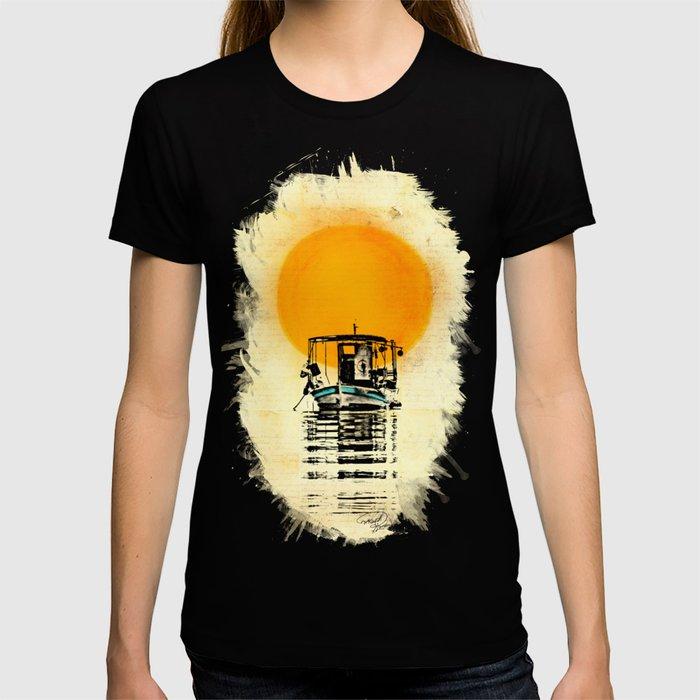 Sunset Boat Silhouette T-shirt