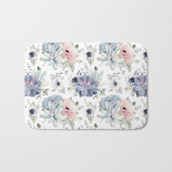 Succulents Blue + Rose Pink on White Bath Mat